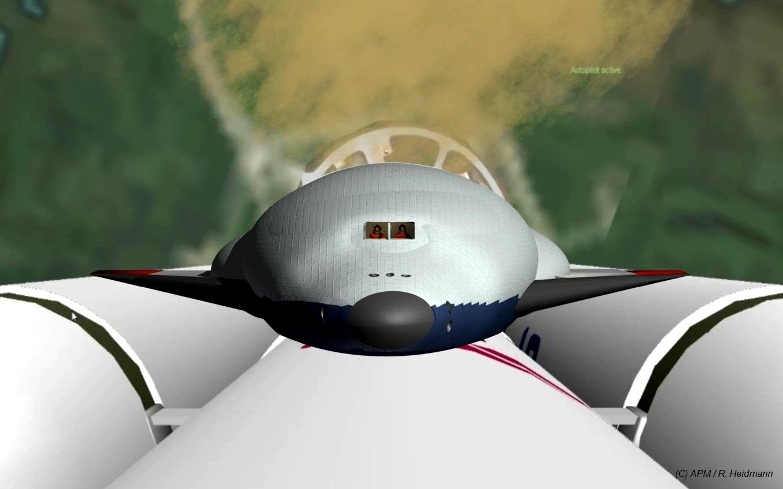 Décollage : 12000 T de poussée, ça s'entendra de loin ! Les trois corps de 10 m de diamètre seront récupérés. Les pilotes visibles derrière les hublots pourraient en fait, tout comme les passagers, ne pas embarquer sur ce vol, exécuté en automa-tique pour des raisons de sécurité. Il est en effet difficile d'imaginer un système de secours en cas d'accident au lance-ment. Et pourtant, la NASA avait accepté de faire voler la Navette Spatiale dans des conditions semblables…