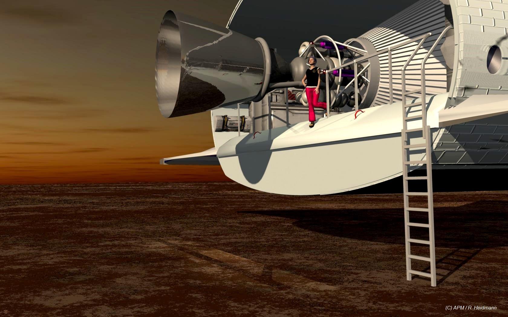 Un moteur axial d'une masse de 4 T recule sensiblement le centre de gravité et réduit le volume de soute arrière. Victoria n'est là que pour donner l'échelle !