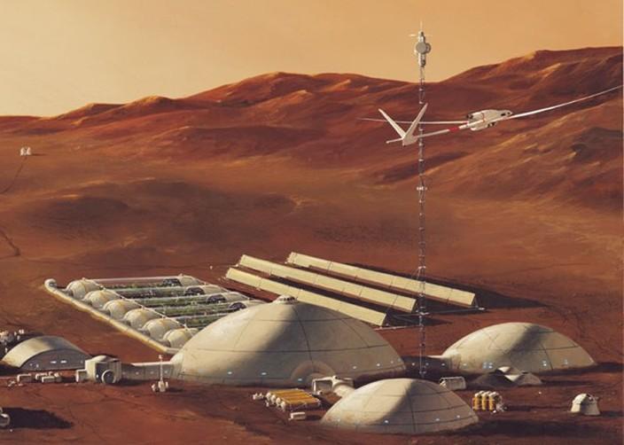 Le dessinateur Manchu a représenté ici un drone volant à proximité d'une base martienne. (doc. Manchu)