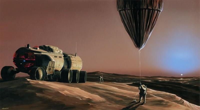 Le dessinateur Manchu a représenté une expédition en rover pressurisé sur une calotte polaire martienne où un astronaute s'apprête à lâcher un ballon pour diverses mesures en altitude. Cette opération est possible malgré la faible pression de l'atmosphère. Sur la Lune elle est impossible en l'absence totale d'atmosphère.(doc. Manchu)
