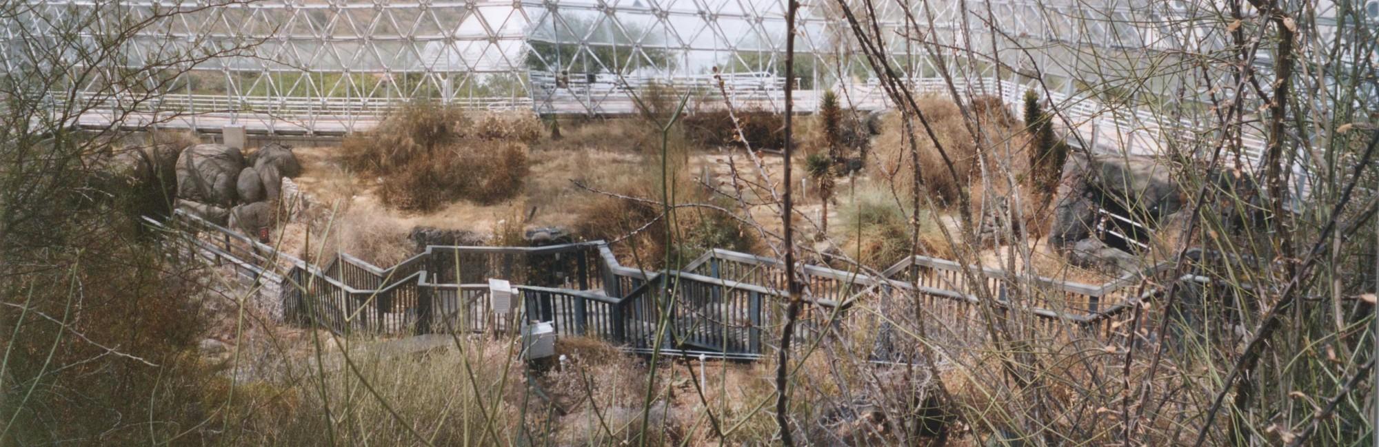 Le désert, partie aride basse,  vu depuis la zone à épineux haute, à la sortie de la savane. Ce désert représentant celui de la côte des brumes du Chili,  fleurit en hiver. Toutes les passerelles ont été installées il y a 3 ans et n'existaient donc pas lors de l'expérimentation « Biosphère 2 ». (doc. A. Souchier)