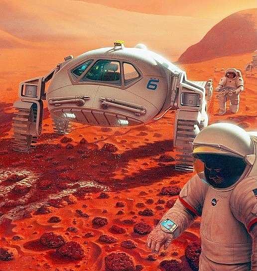 La même question se pose pour un véhicule pressurisé. En exploration sur le terrain les astronautes ne voudront pas perdre du temps dans des opérations fastidieuses de décompression.(doc.NASA).