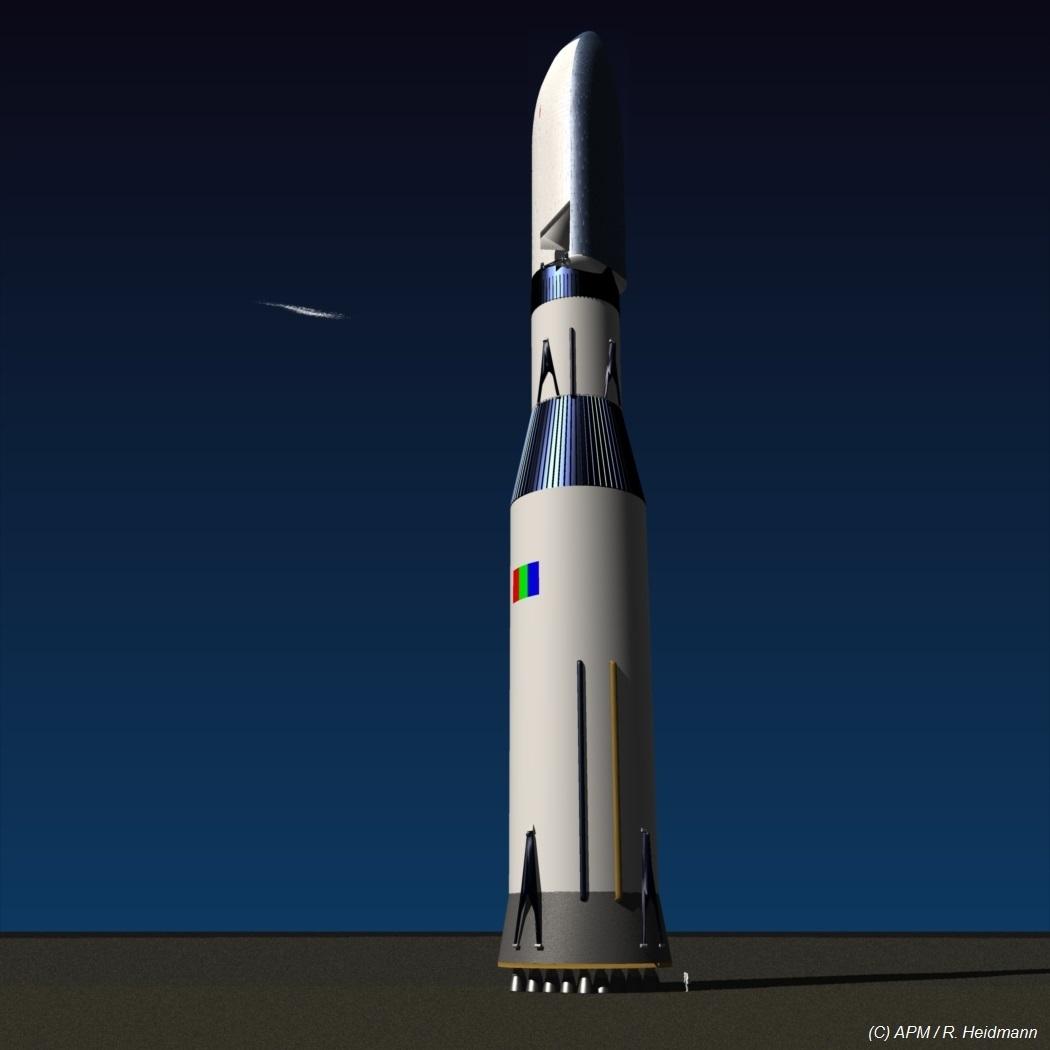 Conception d'un MCT en version lanceur mono corps: 129 m de haut, 13700 T au décollage! CU: 95 T sur Mars au périhélie, 80 T sur Mars à l'aphélie.