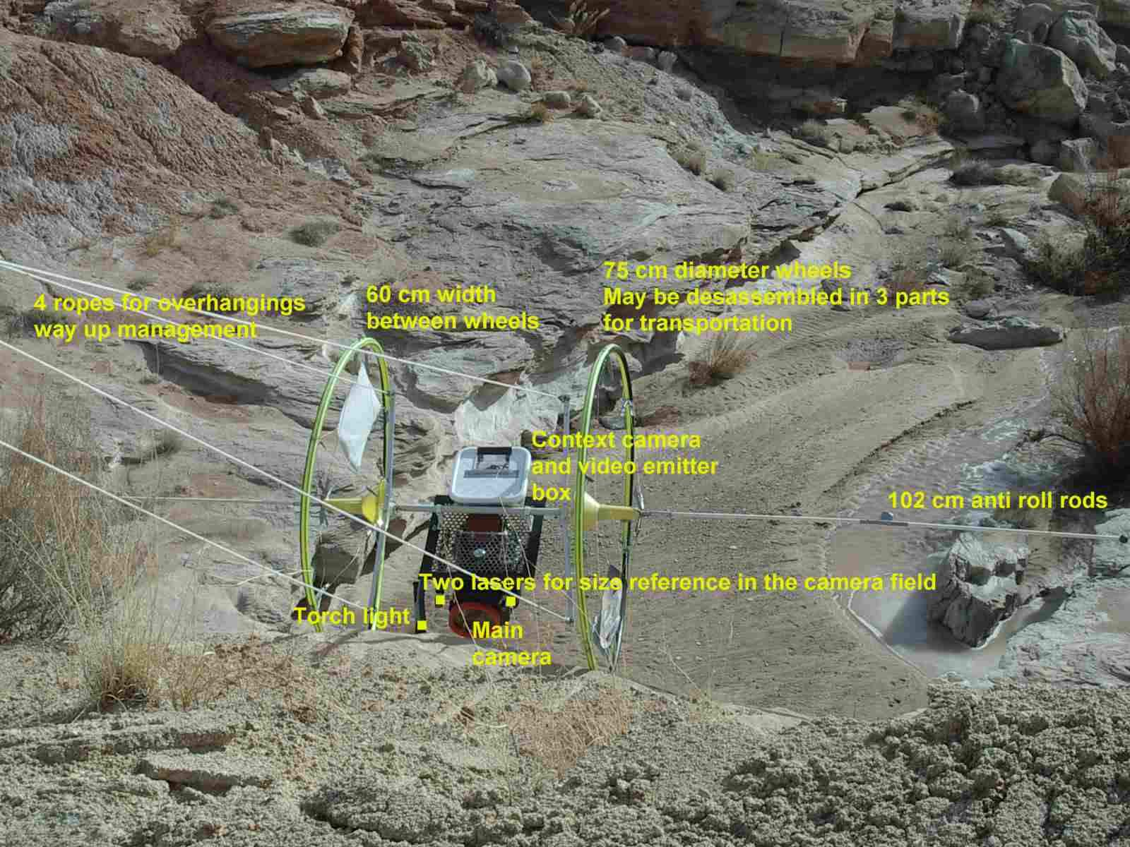 Cliff Reconnaissance Vehicle n°3 main features (CRV test 70 at White Rock Canyon in Utah during the MDRS 43 simulation in 2006). (doc. APM/A. Souchier)