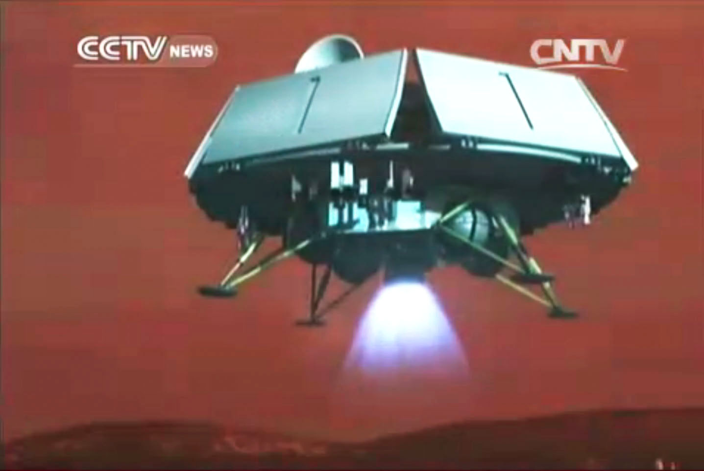 Fig.5 - Nouveau projet d'atterrisseur martien apparu à l'automne 2014 dans un film diffusé au salon aérospatial de Zhuhai. Il s'agit maintenant d'un véhicule conséquent transportant un rover comparable à Yutu, qui a été déposé sur la Lune en 2013 (Doc. CCTV News/CNTV)