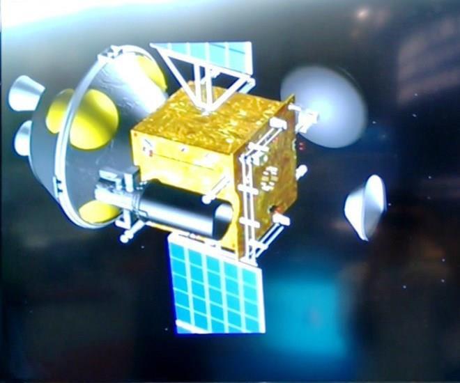 Fig. 2 - Projet d'orbiteur martien (apparu en 2011 ou 2012) larguant une capsule porteuse d'un petit atterrisseur.