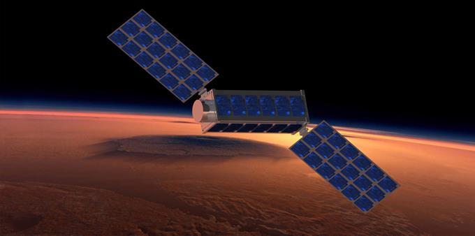 Vue d'artiste de BIRDY pendant son survol de Mars. (doc. OBSPM/NCKU)