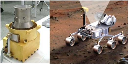 L'instrument RAD, monté sur le dos de Curiosity.   (doc. NASA/JPL)