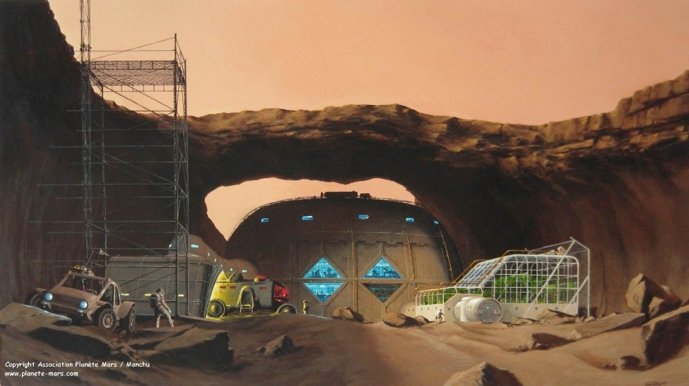 Base set up under a natural bridge in a collapsed lava tube. (doc. Assoc. Planète Mars / Manchu)