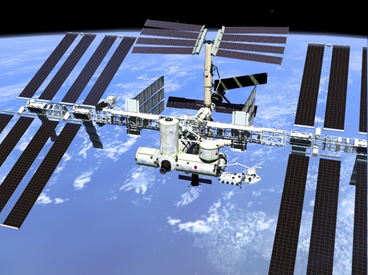 Space Station: 80 kWe having required the installation of 8 panels of 70 m wingspan. (doc NASA)