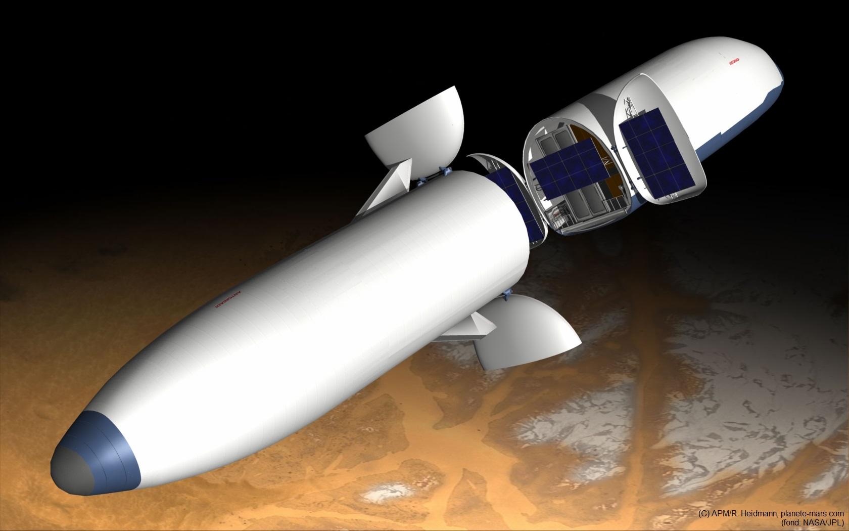 Illustration de l'opération de ravitaillement en propergol de la navette en partance pour la Terre. L'ensemble des deux vaisseaux accouplés est mis en rotation pour aider au positionnement des ergols dans les réservoirs.