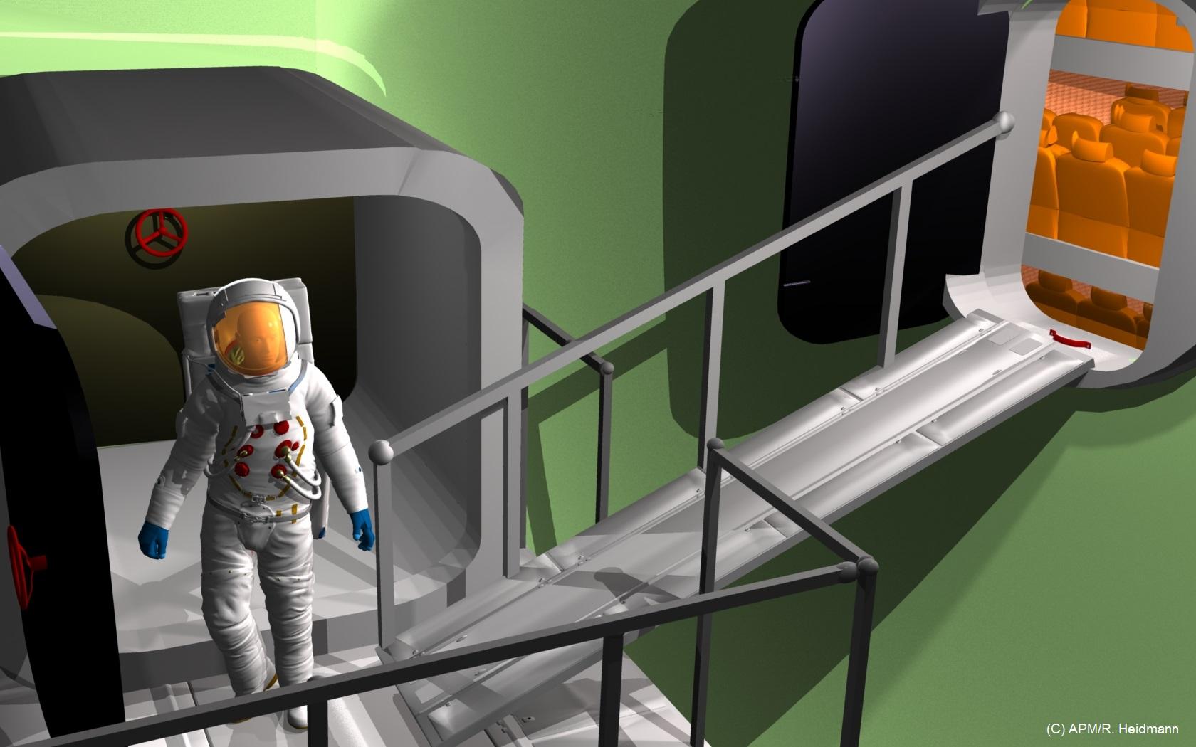 Passerelle du sas et rampe d'accès à la capsule, en configuration planétaire (attitude horizontale).