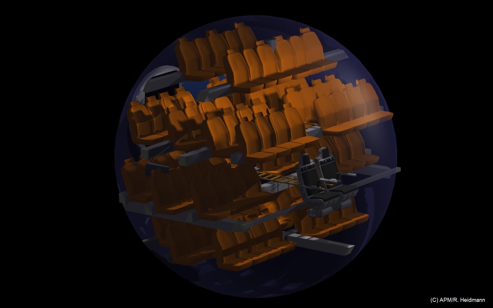 Concept de la partie pressurisée du module de secours, où se tiendront la centaine de passagers pendant le lancement, mais aussi lors de toutes les autres phases propulsives. Diamètre 6,10 m ; 5 niveaux de sièges.