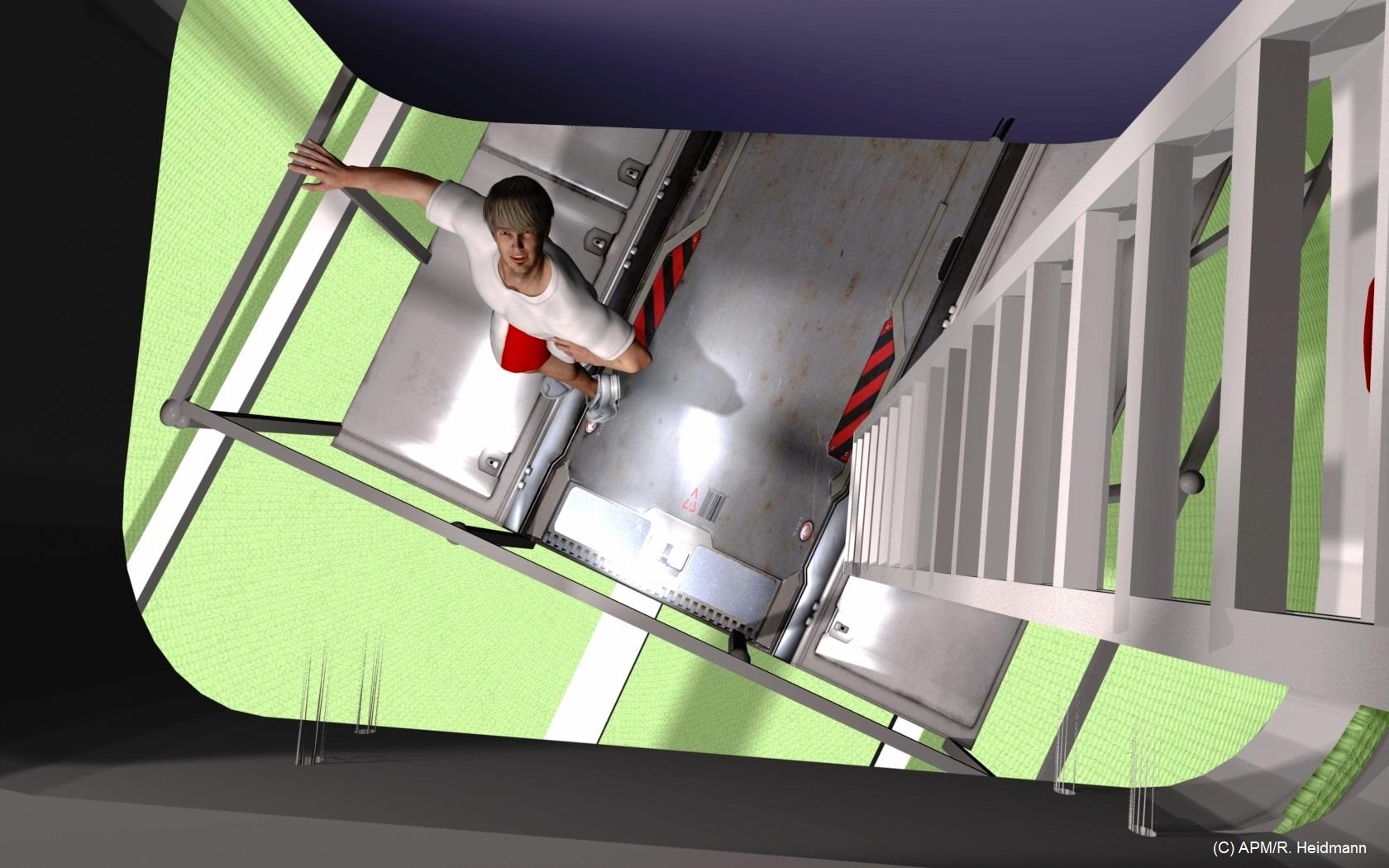 Vue de la passerelle du sas depuis l'entrée de la capsule (navette en position verticale, sur le pas de tir).