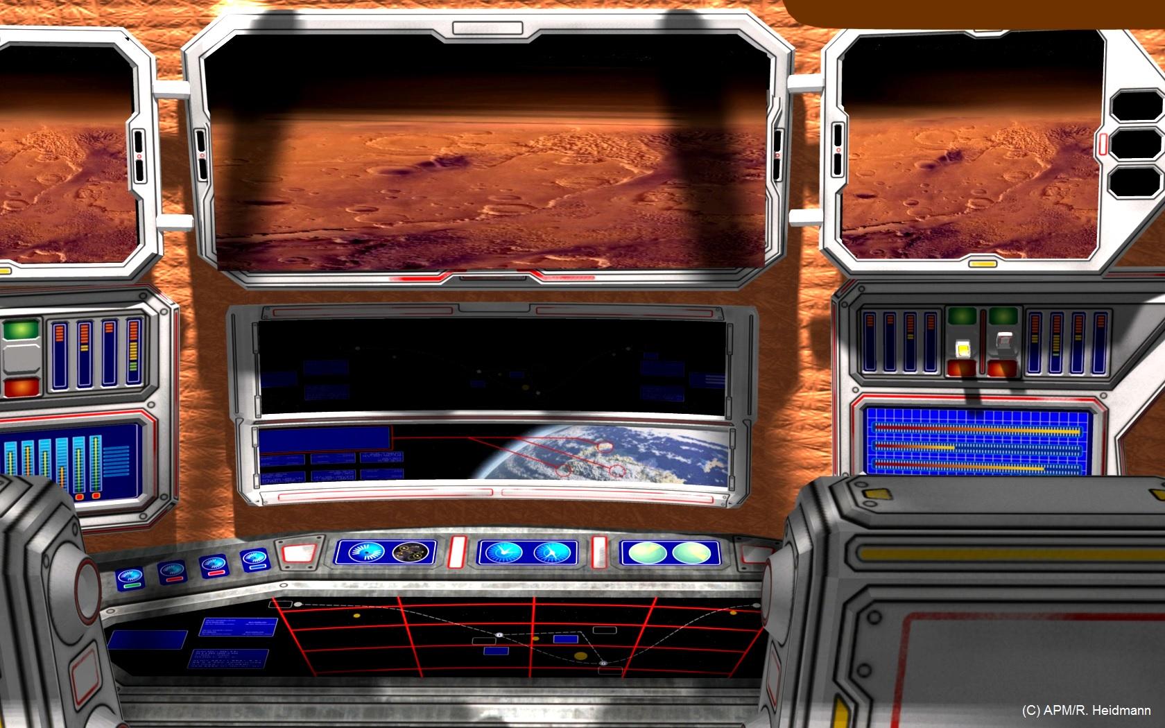 Le poste de pilotage donnerait une vue indirecte (caméras et écrans) de la zone d'atterrissage. (Mars picture: NASA/JPL)
