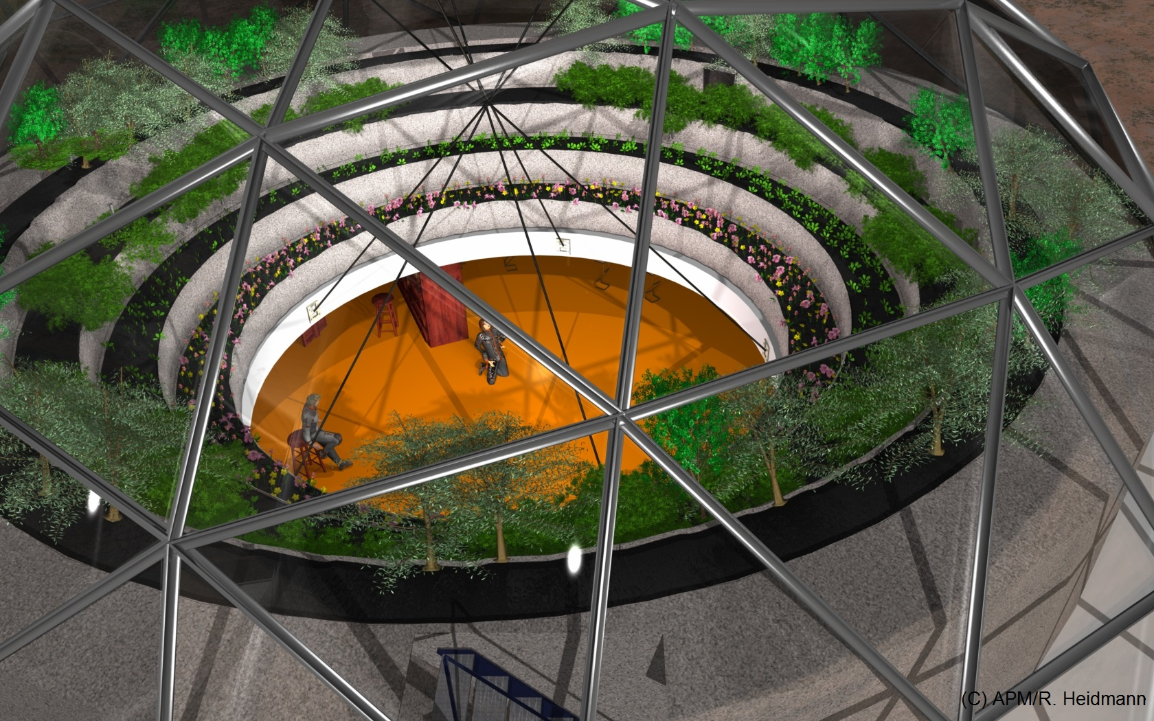 Top view of a 30m diameter restaurant-social area, such a large diameter is probably not realistic at an early stage of a settlement.