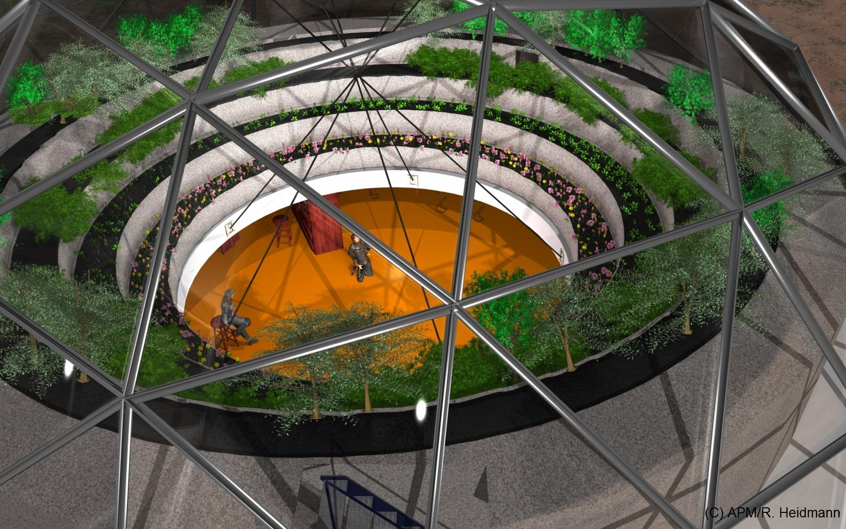 Vue de dessus d'un espace de restauration-socialisation de 30 m de diamètre, une dimension vraisemblablement trop ambitieuse pour les débuts de la colonie.