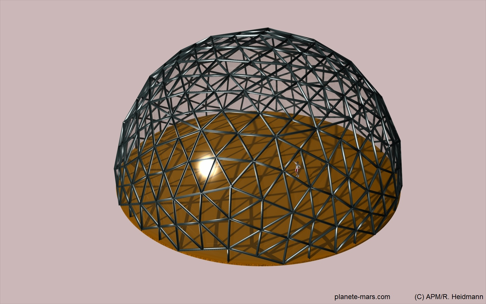 Geodesic dome, 30m diameter, flat glass panes and steel structure, erected on foundations in reinforced duricrete.