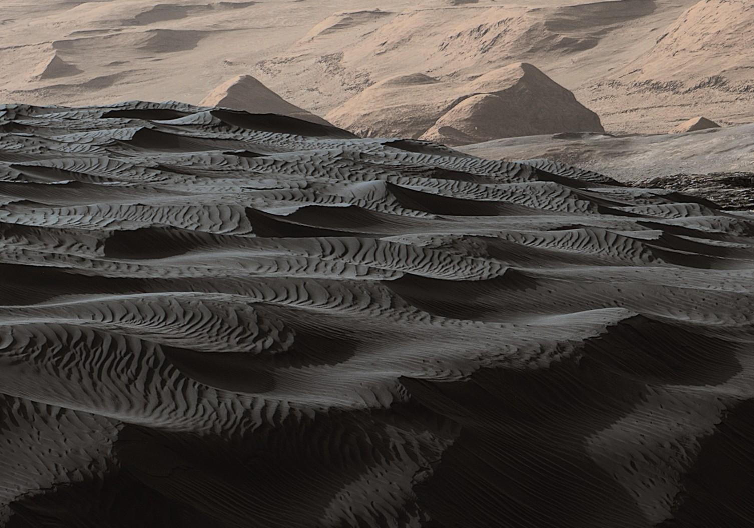 Namib sur fond de Mont Sharp