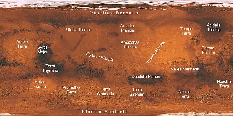 Elysium planitia sur planisphère martienne