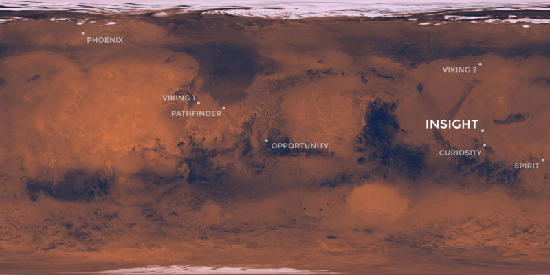 site arrivée INSIGHT sur carte Mars