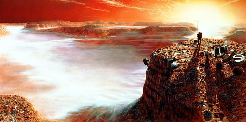Vue d'artiste d'un lever de Soleil sur Mars, vu par un astronaute explorateur http://spaceflight1.nasa.gov/gallery/images/exploration/marsexploration/html/s90_47890.html